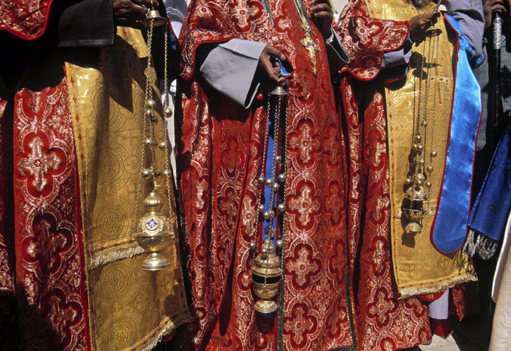 Stock Photo: 1609-6304 Greek Orthodox priests, Bethlehem, Israel