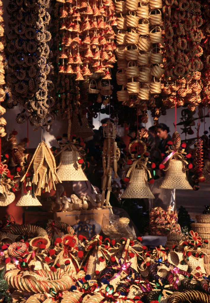 Handicrafts in a market, Tzintzuntzan, Mexico : Stock Photo