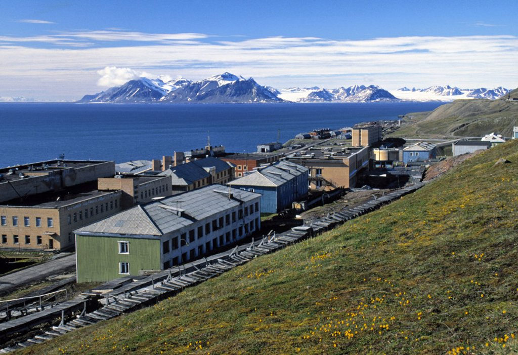 Russian Mining settlement, Barentsburg, Svaldard-Spitsbergen, Norway : Stock Photo