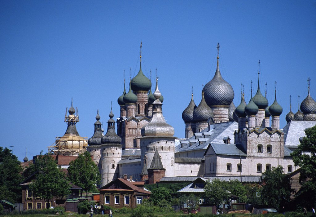 Rostov Kremlin from the lake Nero, Rostov, Yaroslavl region, Russia : Stock Photo