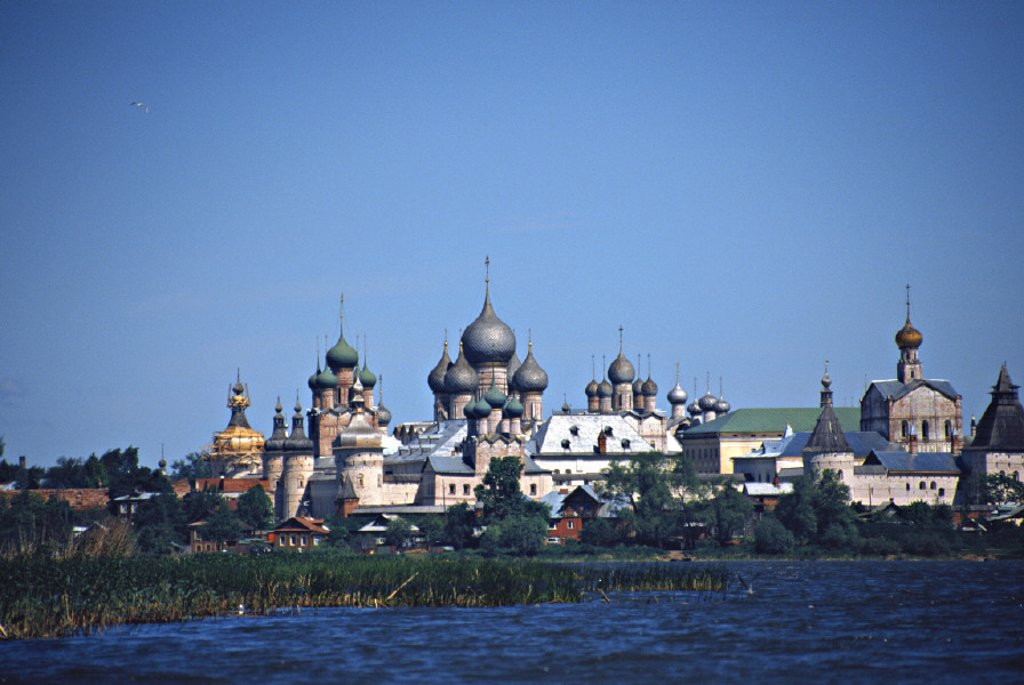 Rostov Kremlin from lake Nero, Rostov, Yaroslavl region, Golden ring, Russia : Stock Photo