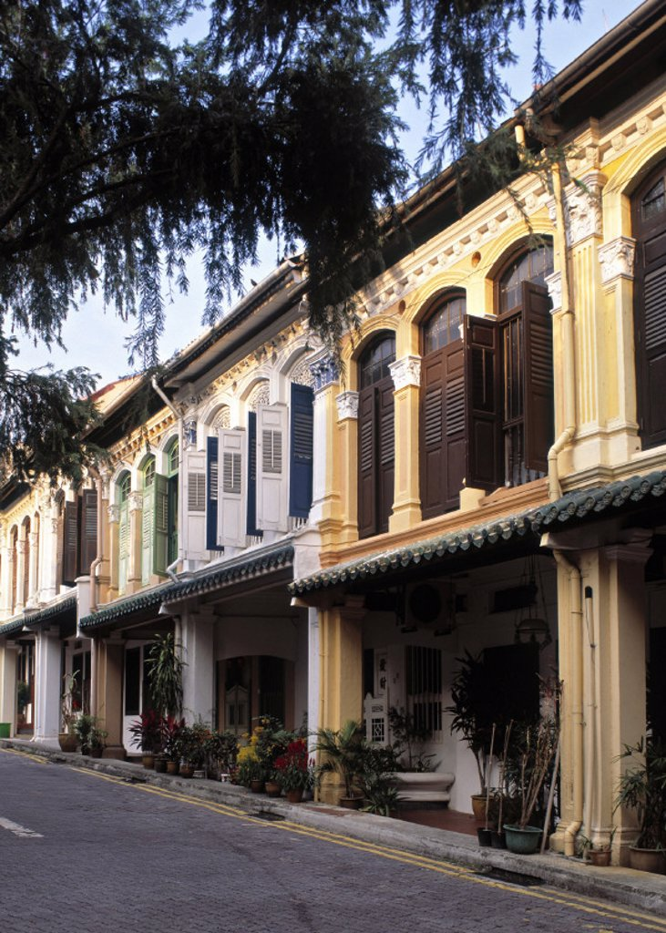 Stock Photo: 1609-9450 Peranakan style houses, Emerald Hill Road, Singapore