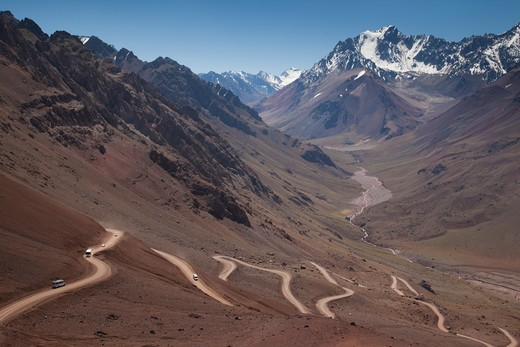 Stock Photo: 1609R-28137 Argentina, Mendoza Province, Las Cuevas, road to Christo Redentor statue