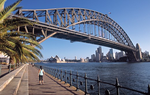 Sydney Opera House & Harbour Bridge, Sydney, NSW, Australia : Stock Photo