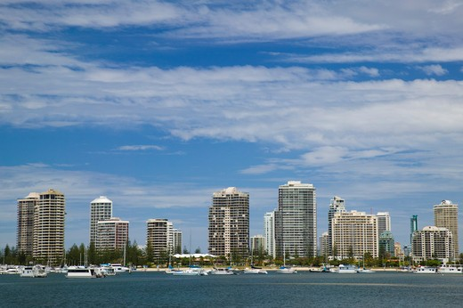 Stock Photo: 1609R-28226 Australia, Queensland, Gold Coast, Surfer's Paradise, View of Highrise buildings from The Broadwater