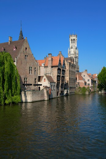 Stock Photo: 1609R-28317 Millpond and Belfry, Bruges, Belgium
