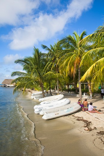 Stock Photo: 1609R-28332 Belize, Placencia, The Moorings dingies on beach