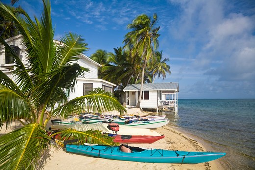 Stock Photo: 1609R-28338 Belize, Tobaco Caye, Kayaks on beach by hotel cabanas