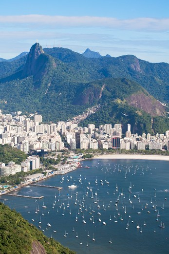 Stock Photo: 1609R-28431 Brazil, Rio De Janeiro, Urca, Sugar Loaf Mountain, View of Botafogo Bay and Chirst The Redeemer Statue atop Cocovado