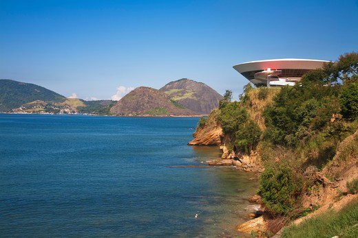 Stock Photo: 1609R-28439 Brazil, Rio De Janeiro, Niteroi, Modern Art musuem designed by arcitect Oscar Niemeyer