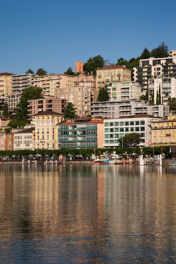 Stock Photo: 1609R-28549 Switzerland, Ticino, Lake Lugano, Lugano, lakefront by Riva Vela