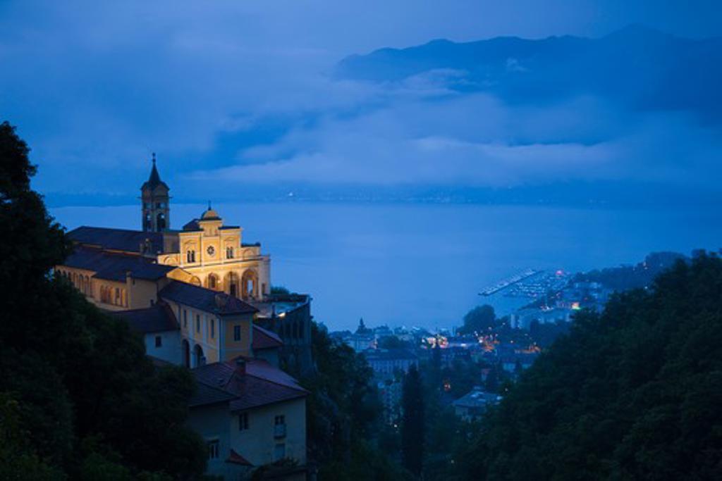 Switzerland, Ticino, Lake Maggiore, Locarno, Madonna del Sasso church : Stock Photo