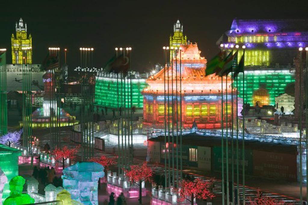 China, Heilongjiang, Harbin International Sun Island Snow Sculpture Art Fair : Stock Photo