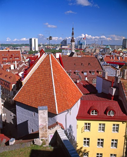 Stock Photo: 1609R-29263 Elevated view over the Old Town, Tallinn, Estonia