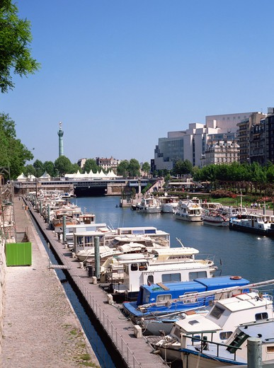 Stock Photo: 1609R-29408 Bastille Opera and Port de Plaisance, Canal St, Martin, Paris, France