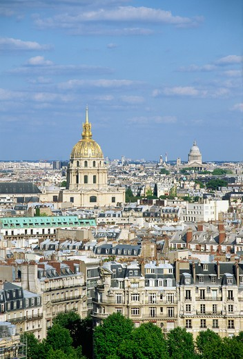 Stock Photo: 1609R-29410 Dome des Invalides and Pantheon from Eiffel Tower, Paris, France