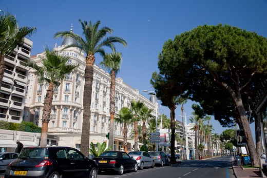 Stock Photo: 1609R-29449 Boulevard de la Croisette and Carlton Hotel, Cannes, Cote D'Azur, France