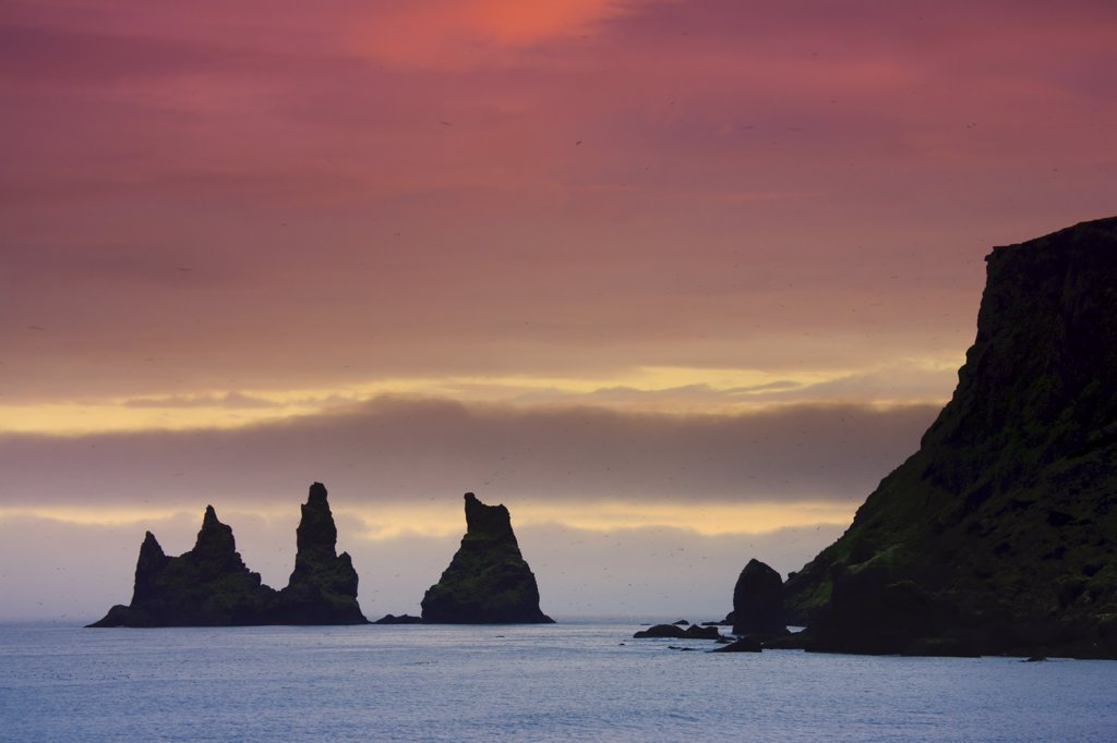 Black Sand Beach and Reynisdrangur Sea Stacks, Vik, Cape Dyrholaey, South Coast, Iceland : Stock Photo