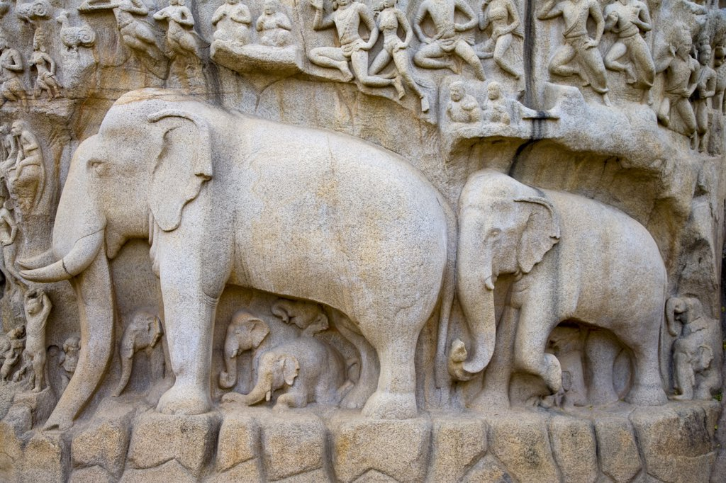 Stock Photo: 1609R-30117 Arjunas Penance granite carvings, Mamallapuram (UNESCO World Heritage Site). Tamil Nadu, India