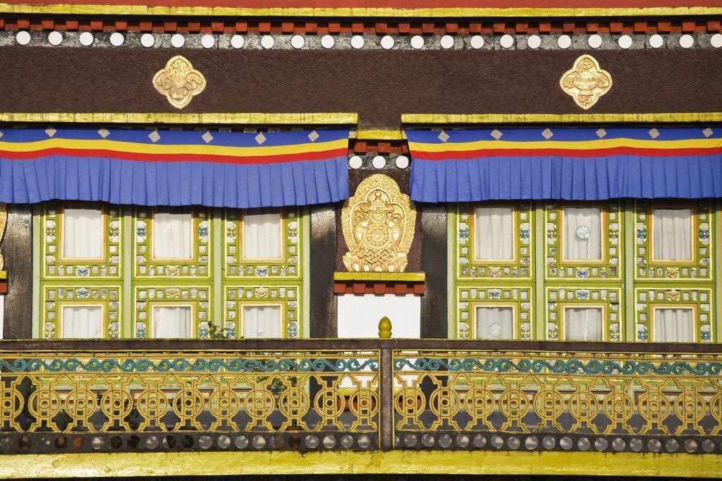 India, Sikkim, Gangtok, Rumtek Gompa Complex, Main monstery building : Stock Photo