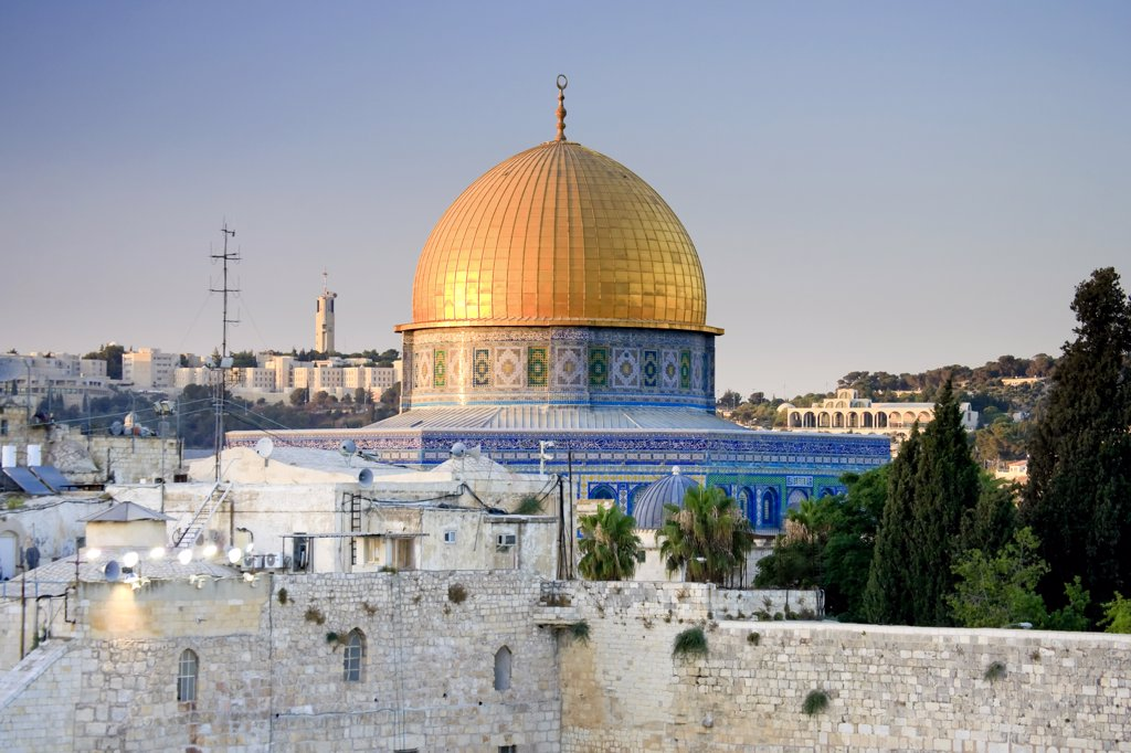 Wailing Wall / Western Wall and Dome of The Rock Mosque, Jerusalem, Israel : Stock Photo