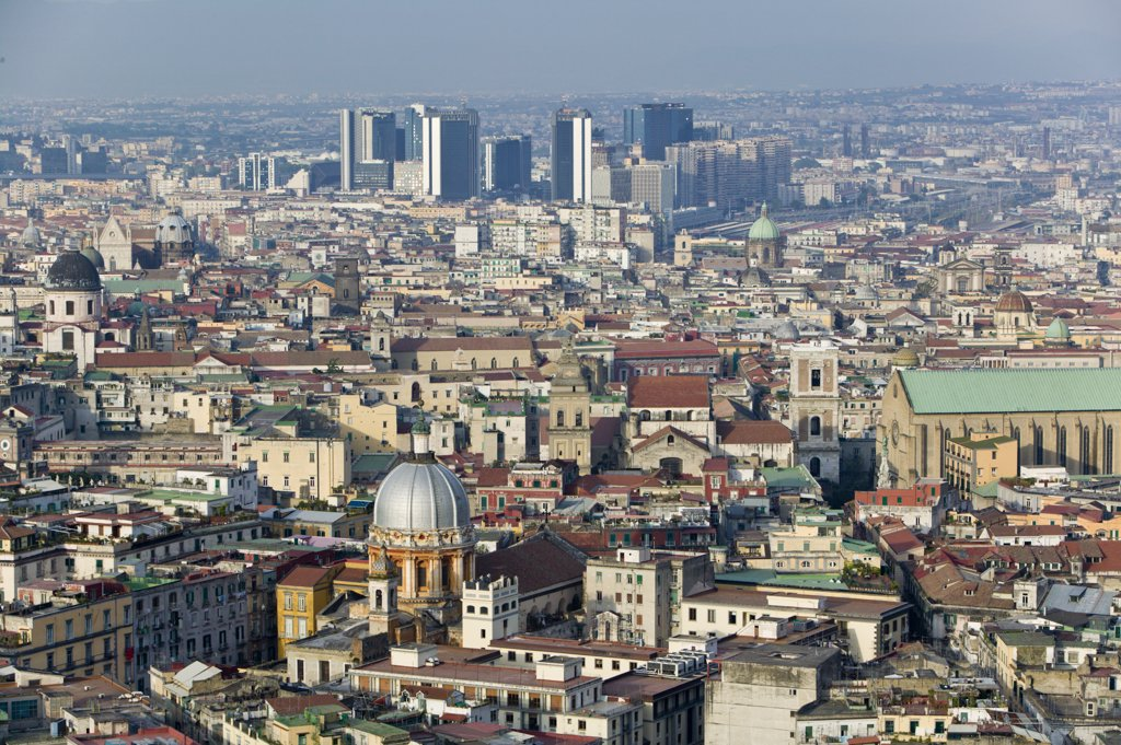 Italy, Campania, Naples, Commercial Center from Vomero Hills : Stock Photo