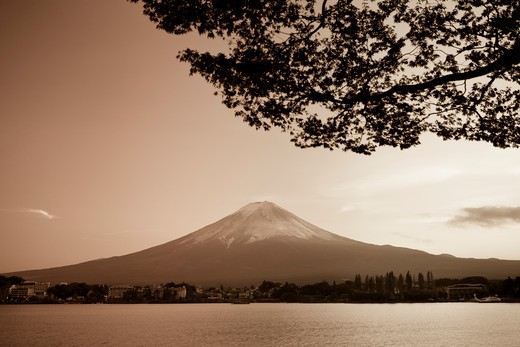 Stock Photo: 1609R-30479 Japan, Honshu Island, Kawaguchi Ko Lake, Mt. Fuji and Maple Trees
