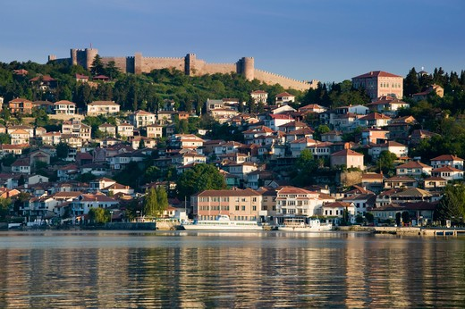 Stock Photo: 1609R-30646 Macedonia, Ohrid, Morning View of Old Town and Car Samoil's Castle
