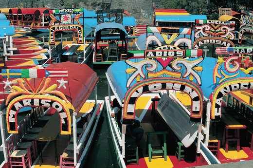 Stock Photo: 1609R-30658 Trajinera, Xochimilco, Mexico City, Mexico