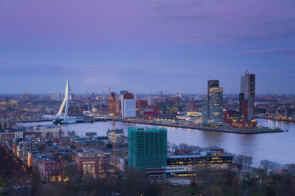 Aerial view of Rotterdam from Euromast tower, dusk, Rotterdam, The Netherlands : Stock Photo