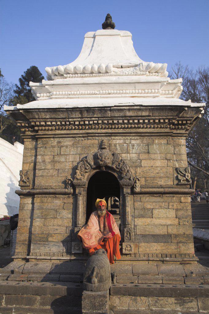 Nepal, Kathmandu, Pashupatinath Temple, Holy Man (Sadhu) : Stock Photo