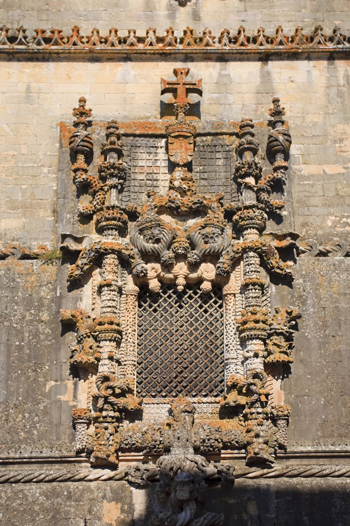 Manueline Window, Convento de Cristo (UNESCO world Heritage), Tomar,  Ribatejo, Portugal : Stock Photo