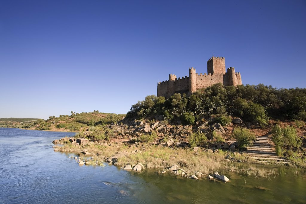 Stock Photo: 1609R-31068 Almourol Castle, set on a island on Rio Tejo, Ribatejo Province, Portugal