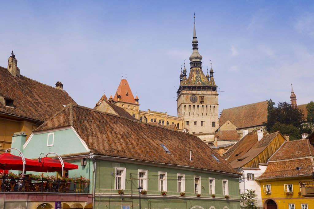 Stock Photo: 1609R-31127 The clock tower (Turnul cu Ceas), Sighisoara, Transylvania, Romania