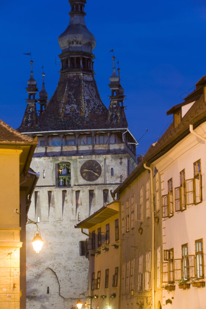 Clock tower (Turnul cu Ceas), Sighisoara, Transylvania, Romania : Stock Photo