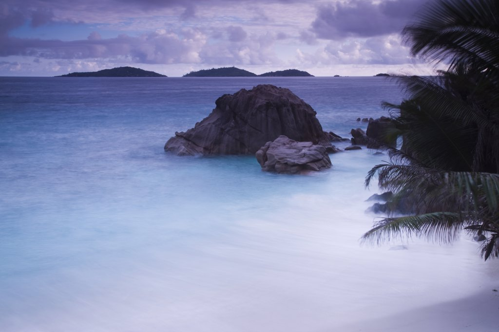 Stock Photo: 1609R-31216 Seychelles, La Digue Island, Anse Patates beach, dawn