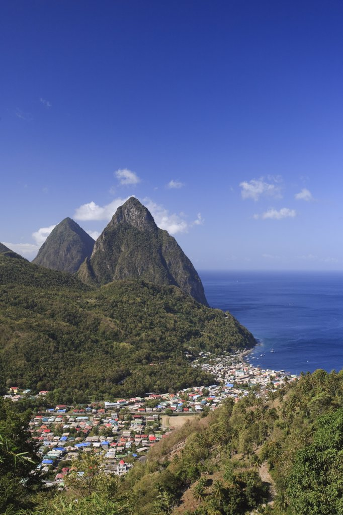 Stock Photo: 1609R-31230 Caribbean, St Lucia, Petit and Gros Piton Mountains (UNESCO World Heritage Site) and town of Soufriere