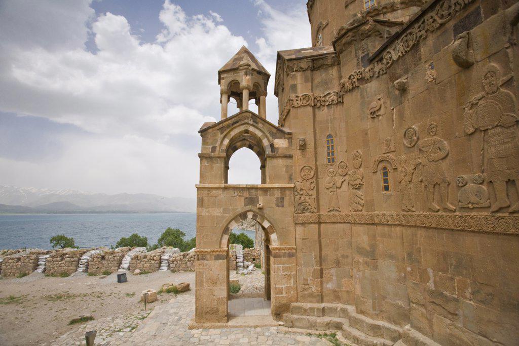 Turkey, Eastern Turkey, Van, Lake Van, Akdamar Island, Akdamar Killsesi, Armenian Church of the Holy Cross : Stock Photo