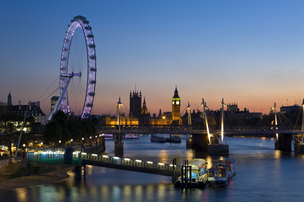 Millennium Wheel (London Eye) & River Thames, London, England : Stock Photo
