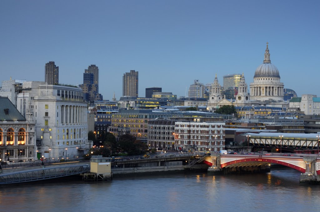 River Thames, The City and St Paul's Cathedral, London, England : Stock Photo