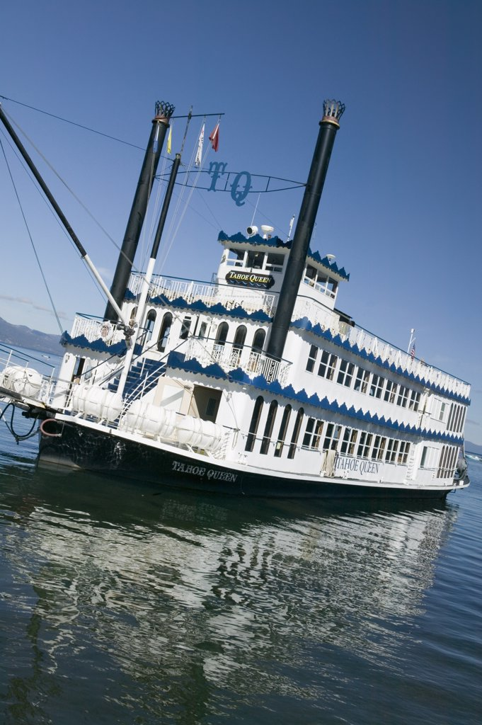 Stock Photo: 1609R-32088 Tour Boat 'Tahoe Queen', Lake Tahoe, Sierra Nevada, California, USA