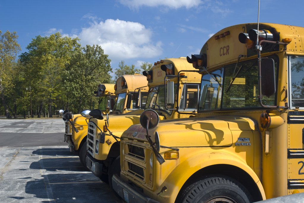 USA, Missouri, Stanton, yellow School Buses : Stock Photo