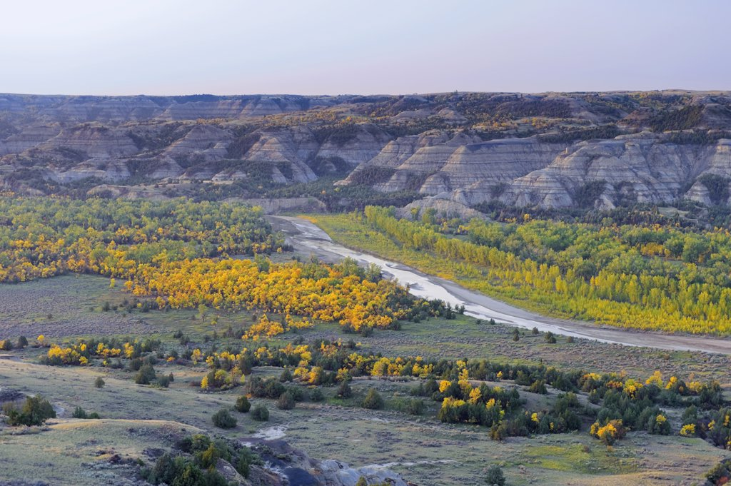 Stock Photo: 1609R-32378 Little Missouri River and River Bend Overlook, Theodore Roosevelt National Park (North Unit), North Dakota, USA