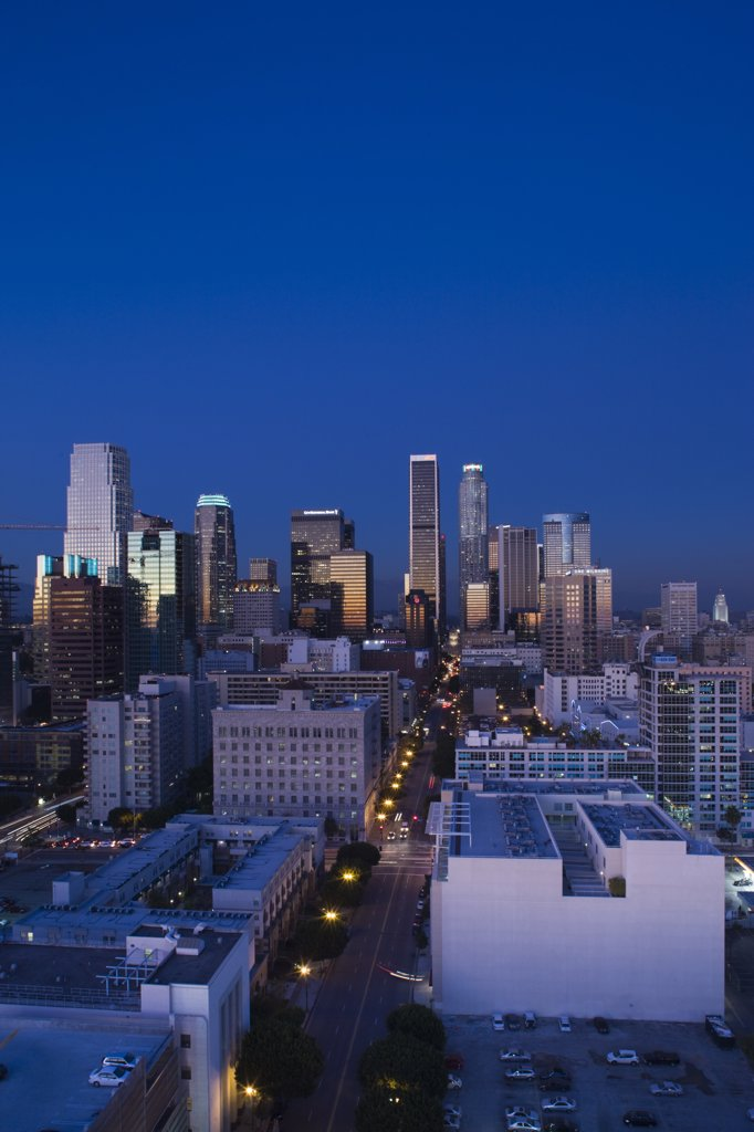 USA, California, Los Angeles, aerial view of downtown from West 11th Street, dusk : Stock Photo