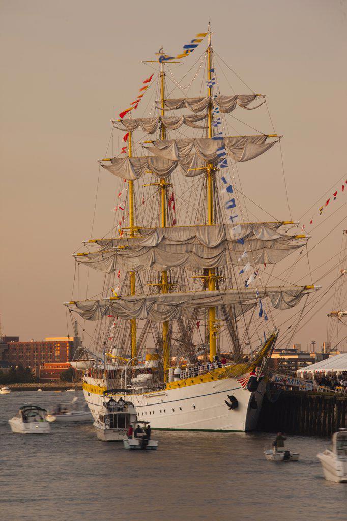 USA,Massachusetts, Boston, Sail Boston Tall Ships Festival, Romanian ship Mircea : Stock Photo