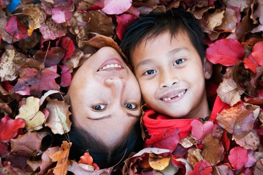 Stock Photo: 1610-227 High angle view of a mid adult woman with her son smiling