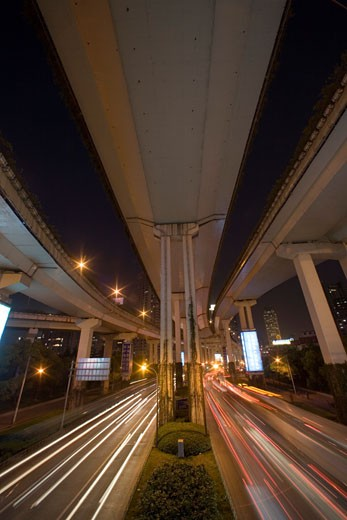 Stock Photo: 1610-338 Traffic under an elevated road at night, Shanghai, China