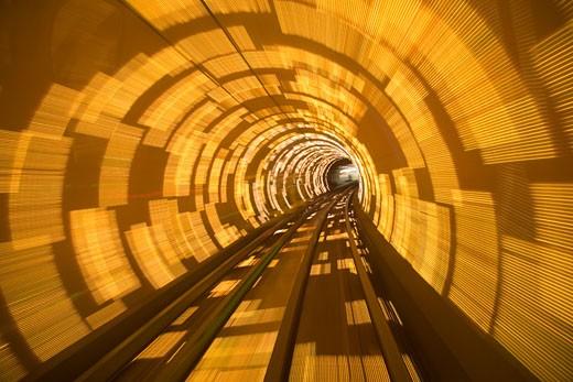 Stock Photo: 1610-343 Railroad tracks running through a tunnel, Pudong, Shanghai, China