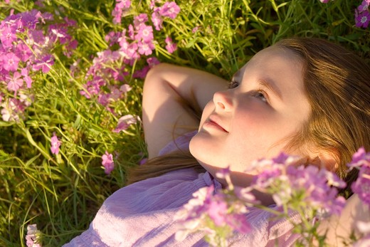 Girl lying in a field of purple flowers : Stock Photo