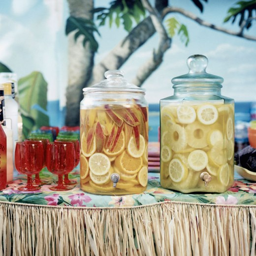 Close-up of two jars of lemonade : Stock Photo